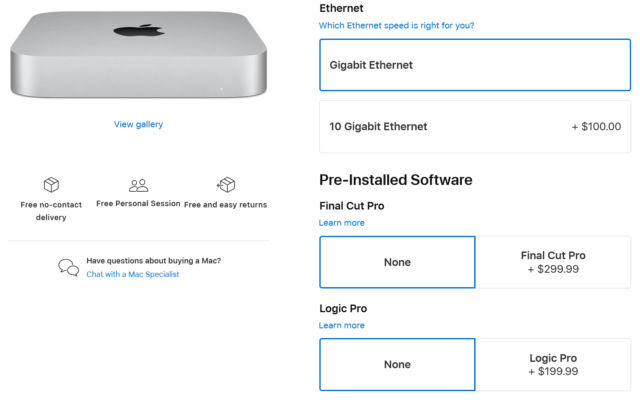 The new Ethernet configuration option for the Mac mini.