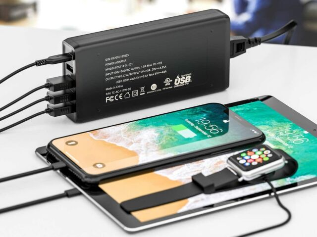 Nekteck's 111W 5-Port desktop charger can charge most USB-C devices at or near maximum speeds.