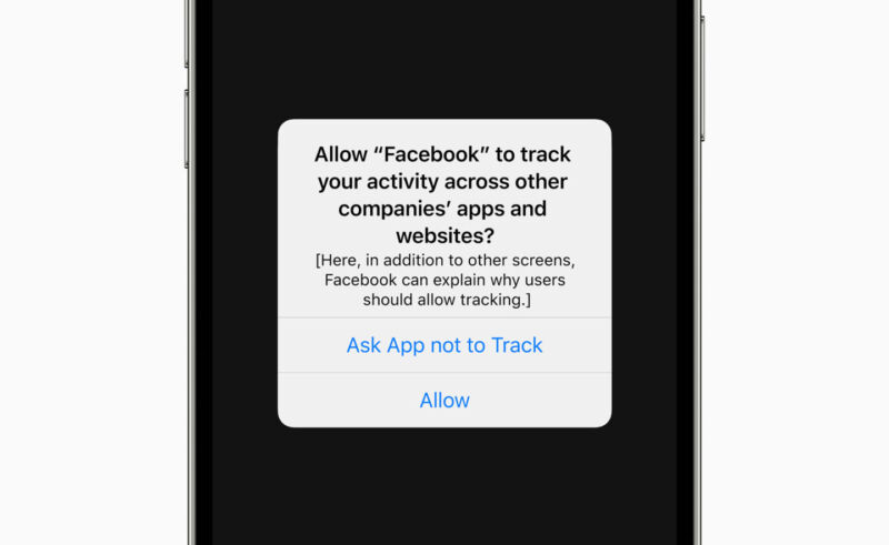 The Facebook iPhone app asks for permission to track the user in this early mock-up of the prompt made by Apple.