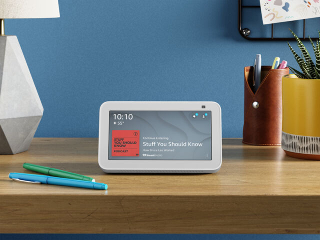 Want to fall asleep listening to podcasts? This Echo Show 5 is ready to sit on a nightstand and make that happen.
