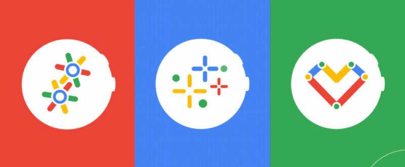 Logos for Google's Wear OS.