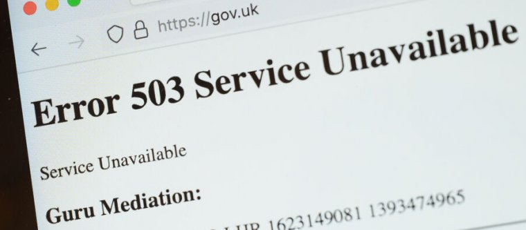 """The United Kingdom government's official website was one of those affected by this morning's outage. The cryptic """"Guru Mediation"""" message shown is an untrapped, unskinned error returned from the Varnish cache server powering the Fastly CDN."""